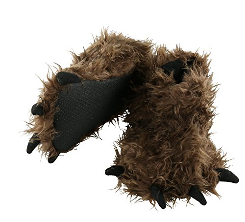 LazyOne Animal Paw Slippers Fuzzy Slippers With Claws Monster Dinosaur Bigfoot Wolf Bear + Kid's and Adult's Sizes (Medium, Big Foot) (Fuzzy Bear Claw Slippers)