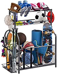 Garage Sports Equipment Storage Organizer with Baskets and Hooks - Easy to Assemble - Sports Ball Gear Rack Ho