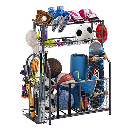 Garage Sports Equipment Storage Organizer with Baskets and Hooks – Easy to Assemble – Sports Ball Gear Rack Holds…