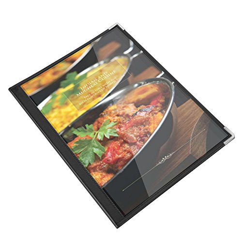 Flexzion Menu Covers Fits 9.4'' x 12.4'' Paper - Restaurant Triple Stitched Folder Sleeves Order Book 3 Pages 6 View with Clear PVC Sheets Black Binding for Deli Cafe Drink Bar (6 Pack) by Flexzion (Image #4)