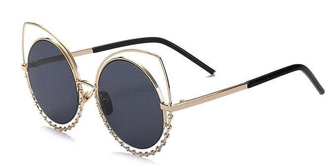 JYR Women Men Charmming Tide Style Mirror Reflective Round Metal Polarized Cateye Sunglass - Golden - Brown 6tskBXgwx