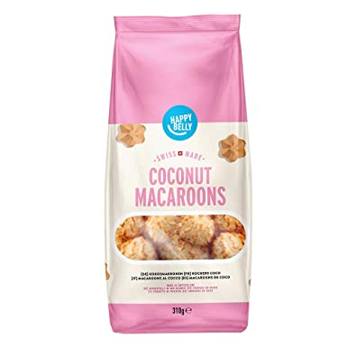 Marca Amazon - Happy Belly - Galletas suizas macaroons de coco, Pack de 4 (4 x 310g)