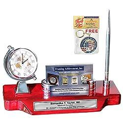 Spinning Globe Silver Desk Clock Engrave Name Plate Business Card Holder Case Desktop Stand Display Pen Cherry Base Corporate Logo Retirement Graduation Employee Gift Promotion Award