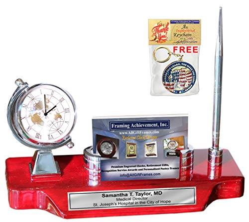 Spinning Globe Silver Desk Clock Engrave Name Plate Business Card Holder Case Desktop Stand Display Pen Cherry Base Corporate Logo Retirement Graduation Employee Gift Promotion Award