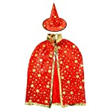 Winzik Boys Girls Halloween Costume Wizard Witch Stars Cloak Cape Robe with Hat Cosplay Decorations Props (Red)