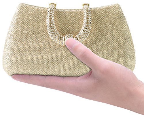 Womens Hard Handle Clutch for Wedding and Party- Pulama Glitter Purse with Rhinestone Clasp by Pulama®