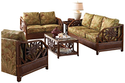 Hospitality Rattan 5 PC SET-401-TCA-SU Cancun Palm Upholstered Rattan & Wicker 5 Piece Set Deep Seating Group, Sunbrella Dupione Bamboo - Dupione Bamboo Fabric