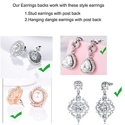 Earring Lifters, Adjustable Ear Lifters, Safety Drooping Earring Backs Jewelry Making Fit All Post Earrings, Crown Style 6 Pair 18K Gold Plated