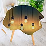 Philiphome Round Tablecloths- Retro Style Light Bulbs Lamps Trendy Original Ccept for Modern Waterproof Oilproof Hotproof Table Cloth Table Multiple Styles 67'' Round