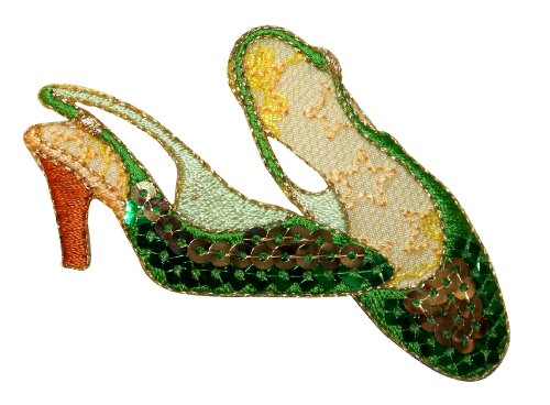 ID 9042 Sequin High Heel Shoes Patch Slipper Formal Embroidered Iron On Applique from Cool-Patches