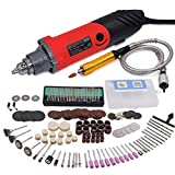 GOXAWEE 170Pcs Multi-Functional Rotary Tool Kit - 240W Straight Die Grinder Mini Electric Drill Set with Advanced Flexible Shaft & Rotary Tool Accessories / 6 Step Varible Speed Drill 8000-32000RPM