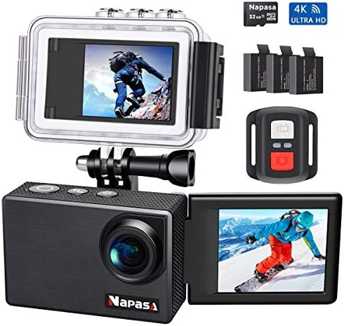 Napasa Action Camera 4K Ultra HD WiFi Sports Camera Underwater Wide Angle 170