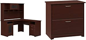 Bush Furniture Cabot L Shaped Desk with Hutch in Harvest Cherry & Cabot 2 Drawer Lateral File Cabinet, Harvest Cherry