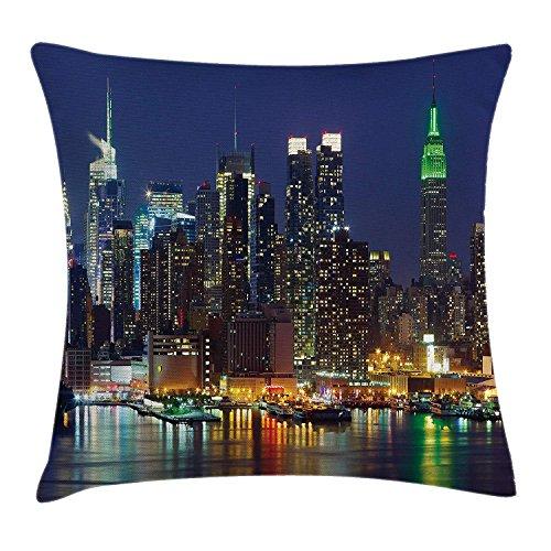 Kaixin J New York Throw Pillow Cushion Cover NYC Midtown Skyline in Evening...