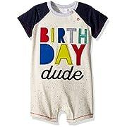 Mud Pie Baby Boys First Birthday Little Dude Shortall, Blue, 12-18 Months