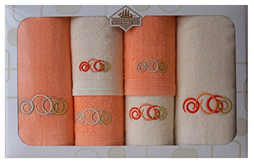Westward Ho! Sphere Embroidery Box Towel, Cream/Orange by Westward Ho!
