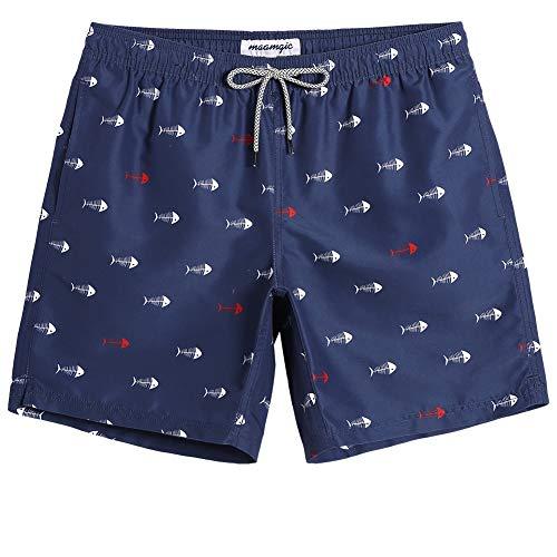 MaaMgic Mens Swim Trunks Beachwear Quick Dry Fish Bone Swim Suit with Mesh Lining Navy Blue