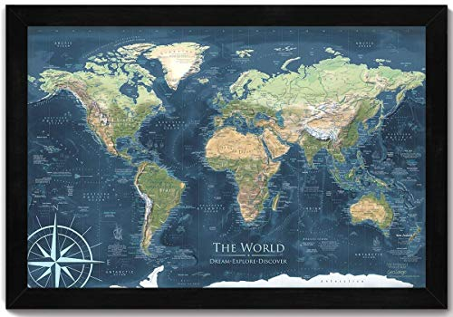 - World Map Push Pin - Voyager 1 World Map - Mounted on Pin Board and Framed - Created by a Professional Geographer