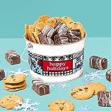 David's Cookies Happy Holidays Cookies & Brownie Bites Bucket – Signature Crispy & Delicious Chocolate Chip Cookies & Chocolate-Covered Mini Brownies – Fresh Healthy Ingredients – Ideal Christmas Gift