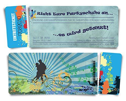 40 Geburtstagskarten Geburtstagseinladungen Einladungskarten  Tanzparty  - - - blau - Ticket Eintrittskarte mit Abriss-Coupon B076H4F7Q7 | Online-Shop  | Outlet Store Online  | Elegant und feierlich  46b201