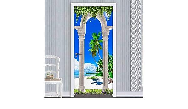 YWGMT 3D Puerta Pegatinas Posters Columna Romana Arcos Playa Vista ...