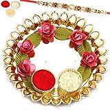 Ghasitaram Gifts Rakhi Gifts Rakhi Pooja Thalis- Roses Pooja Thali with Pearl Rakhi