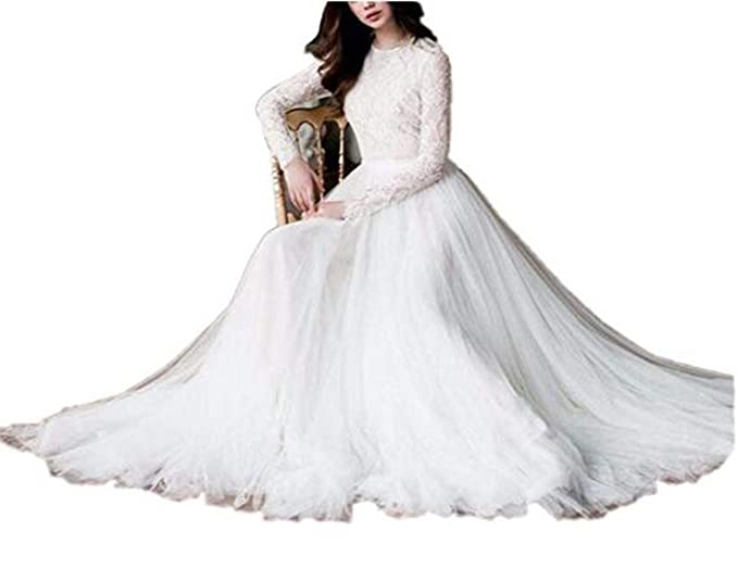 Tsbridal Beach Wedding Dress Long Sleeves Round Neck Lace Wedding