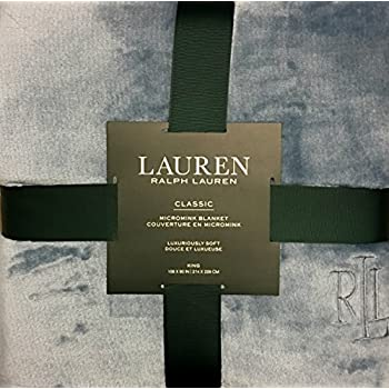 high-quality Ralph Lauren Luxurious Soft Micromink (Microfiber) Navy Blue Throw/Bed Blanket (Twin - 66x90)