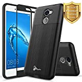 NageBee for Huawei Ascend XT 2 Case with [Full Cover Tempered Glass Screen Protector] [Brushed] Heavy Duty Defender Dual Layer Protector Case for Huawei Ascend XT2 H1711 / Huawei Elate 4G LTE -Black