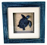 StealStreet LHE-790 Ss-Ug-Lhe-790, 6'' Sea Turtle Aquatic Life Shadowbox Decorative Frame, Blue