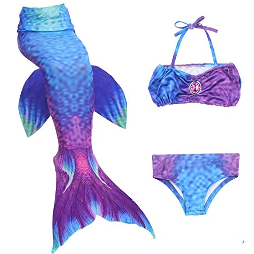 3 Pcs Mermaid Tail Swimsuit For Girls Swimming Bathingsuit Sea-Maid Bikini Set (Swimming Costumes For 9 Year Olds)