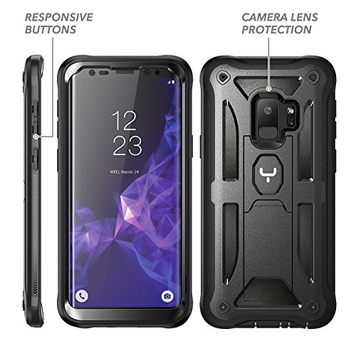 YOUMAKER Galaxy S9 Case, Heavy Duty Protection Kickstand with Built-in Screen Protector Shockproof Case Cover for Samsung Galaxy S9 5.8 inch (2018 Release) - Black by YOUMAKER (Image #5)