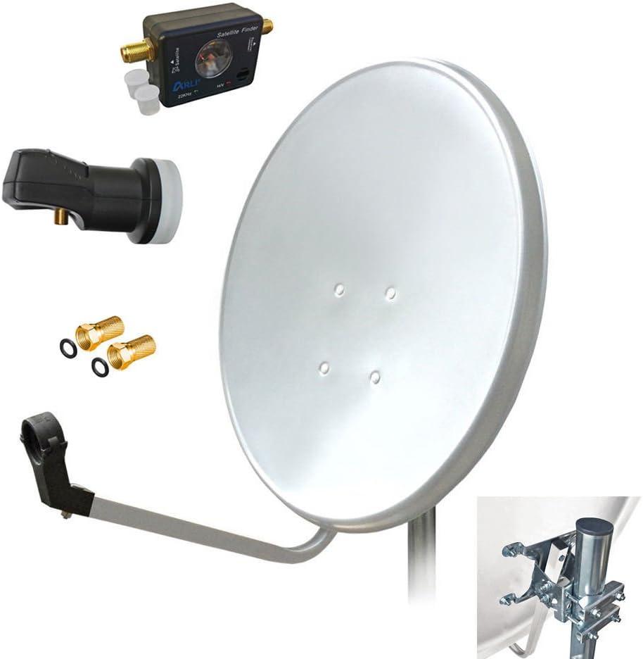60 cm HD satélite (Antena Parabólica Single LNB + SATFINDER + 2 Conectores F Digital 1 participantes Antena Blanco UHD 4 K