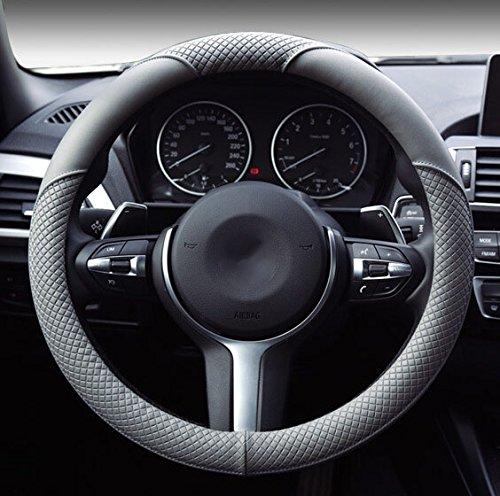 Hivel Lujo Weave Design Funda Cubierta del Volante Microfibra de Cuero Universal Antideslizante Respirable Auto Coche Car Steering Wheel Cover 38cm: ...
