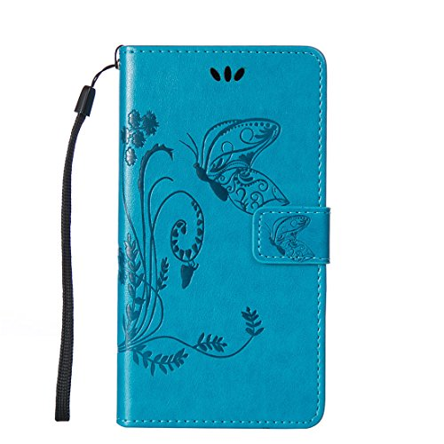 L90 Case, LG Optimus L90 Case, Love Sound [Butterfly Flower/Blue] [Wrist Strap] Luxury PU Leather Wallet Case Flip Cover Built-in Card Slots Stand for LG Optimus L90 (T-Mobile) / D415 (Lg L90 Phone Cover T Mobile)