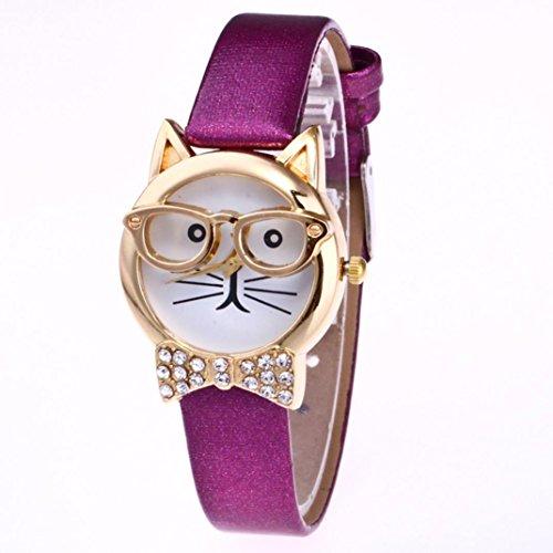 Han Shi Watch, Fashion Women Cute Cat Analog Quartz Dial Wrist Watch Thin Belt Bracelet (M, Purple)
