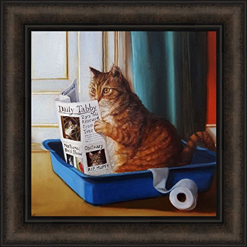Home Cabin Décor Kitty Throne by Lucia Heffernan 18x18 Cat Toilet Litter Box Bathroom Reading Newspaper Paper Funny Humorous Pet Framed Animal Art Print Picture
