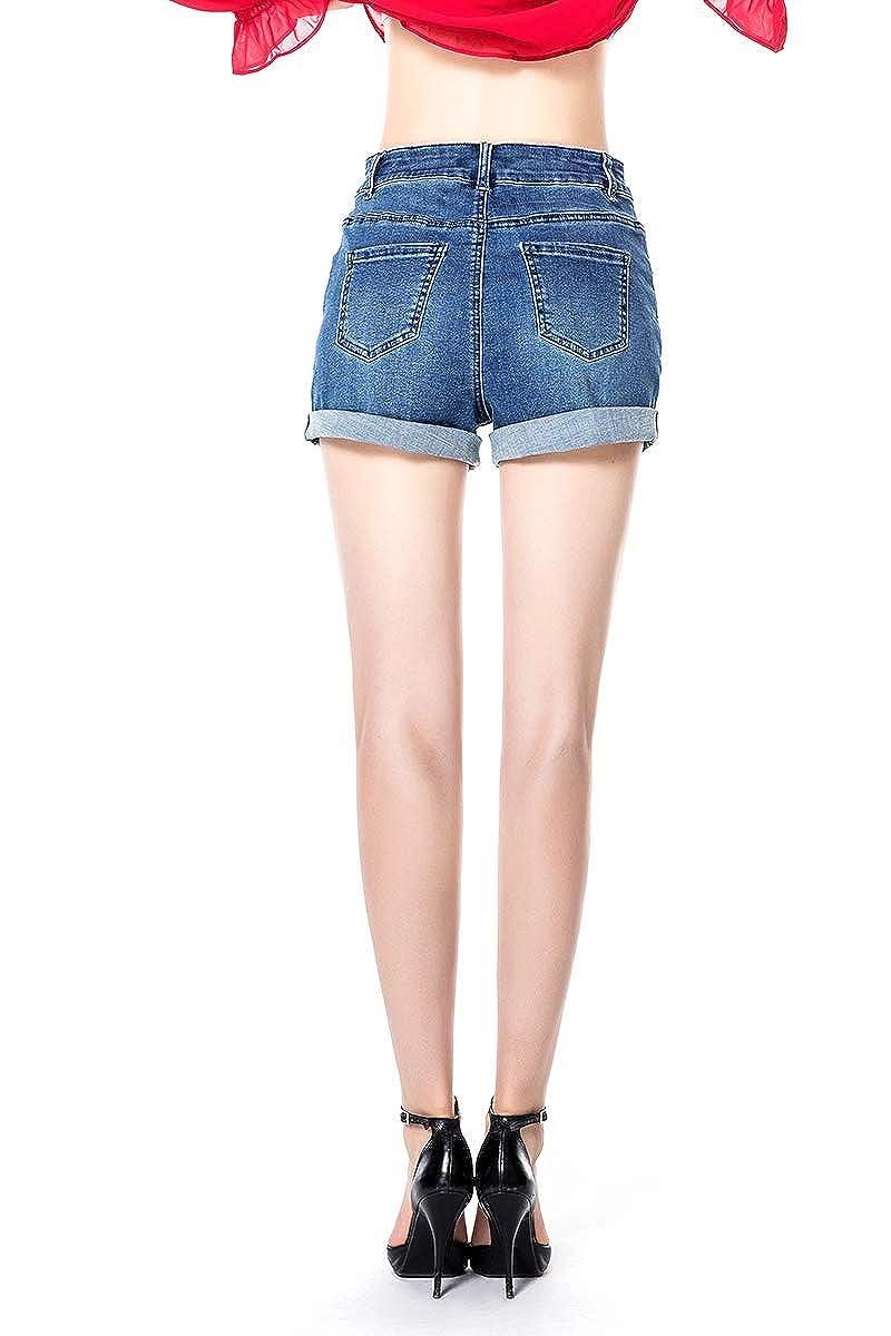Vintage Ripped Frayed Hem Denim High Rise Shorts BLUE RAINBOW Torn Denim Shorts