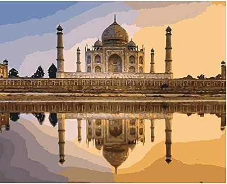 DIYTaj Mahal en India Pintura por números Paisaje Pintura al óleo Digital Lienzo Cuadros de Pared para Sala de Estar Frameless 40 * 50CM