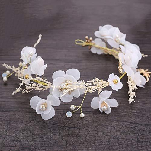 HermosaUKnight Hair Hoop Bride Handmade Pearl Hair Wedding Dress Accessories Hair Band-white