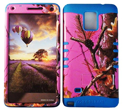 Cellphone Trendz HARD & SOFT RUBBER HYBRID ROCKER HIGH IMPACT PROTECTIVE CASE COVER for Samsung Galaxy Note 4 - Pink Camo Real Hunter Series Mossy Oak Tree Big Branch Design Hard Case on Blue Silicone