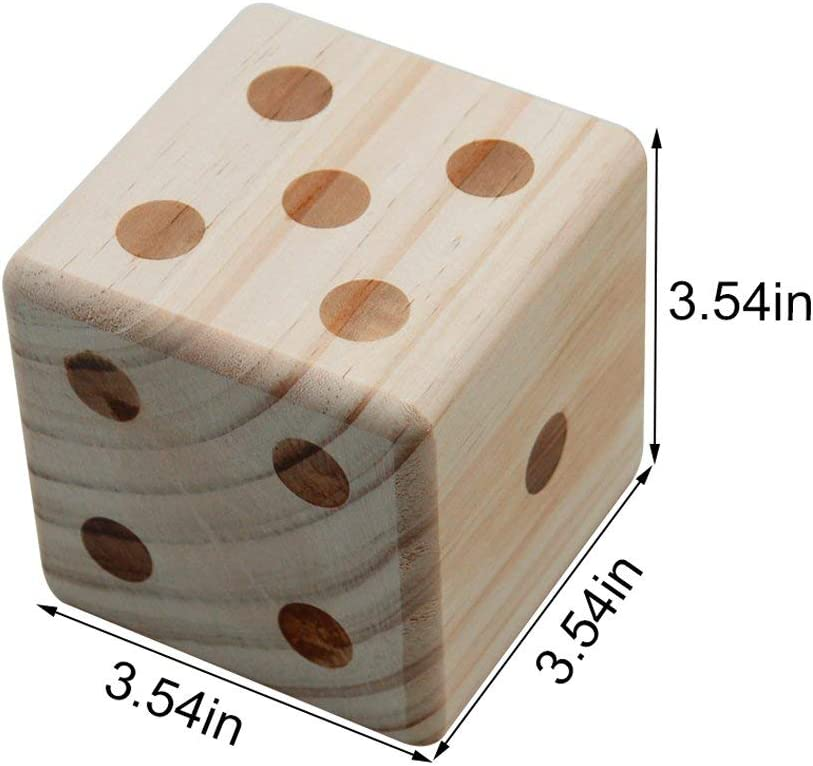 Indoor Canvas Carrying Bag Jumbo Wood Playing Dice Backyard Lawn Game Includes 6 Dice Win SPORTS Giant Wooden Yard Dice Set Dry-Erase Scorecard Outdoor Family /& Group Fun