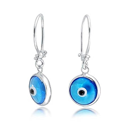 754b74fa8 Amazon.com: Blue Nazar Evil Eye Spiritual Protection Round Leverback Drop  Earrings For Women Teen Murano Glass 925 Sterling Silver: Glass Earrings:  Jewelry