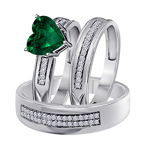 (1.00 Ct Synthetic Green Emerald Heart Shape & Round CZ Diamond 14k White Gold Over Engagement His & Her Wedding Engagement Trio Ring Set In .925 Sterling Silver)