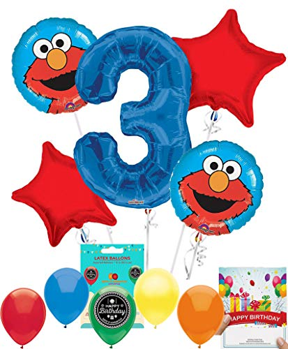 Elmo Party Supplies Sesame Street Balloon Decoration Bundle with Birthday Card for 3rd Birthday -