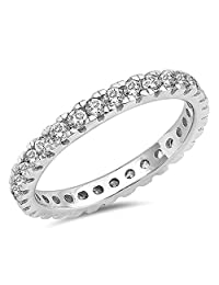 Sterling Silver Women's .925 CZ Eternity Anniversary Wedding Band Ring Size 5-10