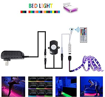 AIMELED Motion Activated Bed Light Under Bed Light Multicolor RGB night lights strip Automatic Off LED Light Strip with 44 Key IR Remote Motion Sensor great for Kids,light for Bedroom ¡