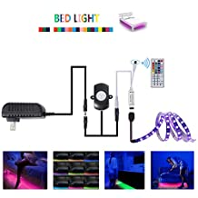 Topled Light LED Bed light Kit,RGB PIR Motion Activated LED Strip Sensor Night Light with Automatic Shut Off Timer For Bedroom,Wardrobe,Hallway(Single Bed)