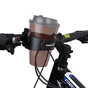 Ibera Bike Handlebar Cup Holder, Black with Multi Way Mount for Commuters and Road bike