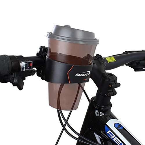 (Ibera Bike Handlebar Cup Holder, Black with Multi-Way Mount for Commuters and Road bike)